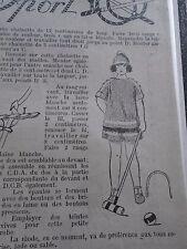 """PATRON ORIGINAL  POUPEE """" BLEUETTE """"ROBE DE SPORT AU CROCHET   AOUT  1922"""