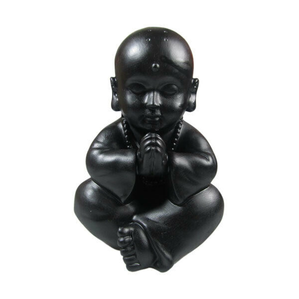 BLACK RAHULA BUDDHA 23CM PEACE DECO HOMEWARE SCULPTURE ART