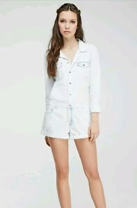 Forever 21 Premium Denim Romper Jumper Jumpsuit Shortall Long Sleeve