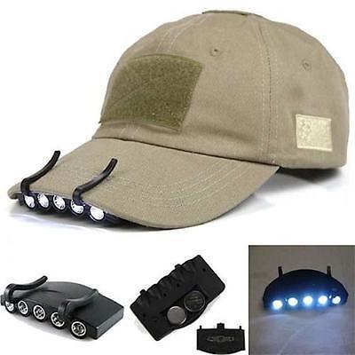 con Clip 5 LED Gorra Luz De Cabeza Linterna Para Exterior Pesca Camping Caza GE