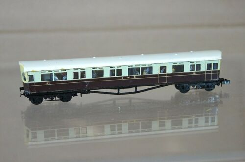 LANGLEY N SCALE KIT BUILT GW GWR CHOCOLATE CREAM AUTOCOACH No 180 WHITE ROOF mz