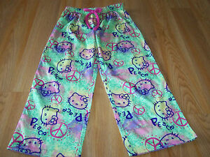 d61efbc76 Girls Size Small 6-7 Hello Kitty Peace Sign Lounge Pajama Pants ...
