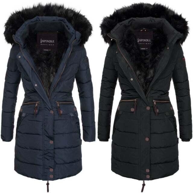 the best attitude 7e646 ea675 Spindle Women's Designer Warm Winter Parka Quilted Hooded Long Coat Hood  Jacket