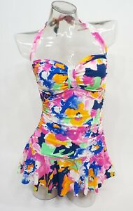 58036dcf37 Image is loading Chaps-Floral-Halter-Tummy-Slimmer-One-Piece-Swimdress-