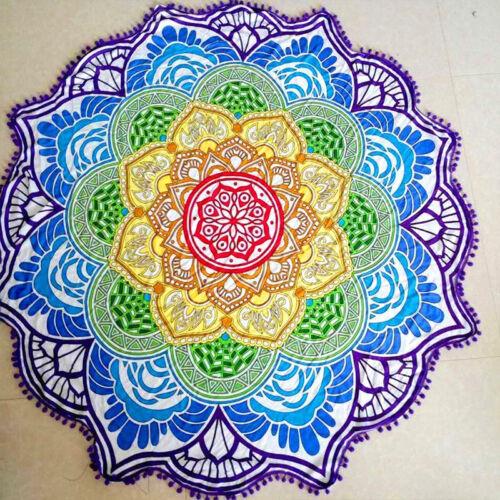 UK Hippie Gypsy Mandala Round Towel Tapestry Throw Blanket Yoga Mat Wall Decor