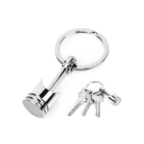 Auto Part Racing Mini Engine Piston Chrome Silver Keychain Keyring Fob Key Ring