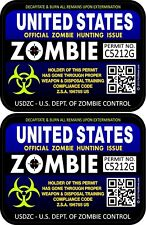 Two United States Zombie Blue Purple Hunting License Permits 3x4 Decal 1202