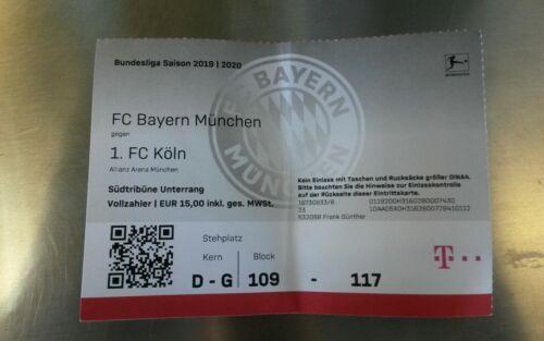 Bundesliga 21.09.19 FCB FC Köln 1 Used Sammler Ticket FC Bayern München vs 1