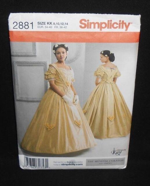 Uncut Simplicity CIVIL WAR COSTUME DRESS GOWN Pattern 2881 8-14 Kay Gnagey