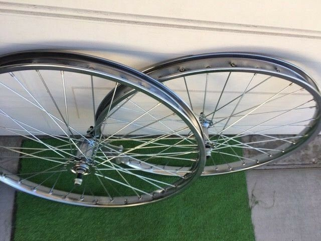SET 26 X 2.125 BIKE STEEL HEAVY DUTY WHEELS FRONT & COASTER BRAKE REAR 36 12GA
