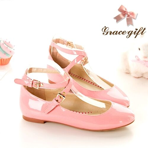US4-13 Womens Flat Mary Janes Ankle Strappy Cross Ballet Shoes Round Toe Cute Sz