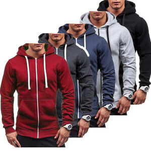 Men-039-s-Solid-Color-Zip-Up-Hoodie-Classic-Winter-Hooded-Sweatshirt-Jacket-Coat-Top
