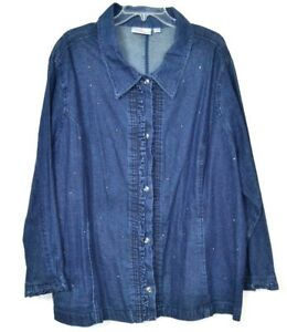 Denim Bluse Jakke Blå Dame Factory Størrelse Quacker 3x Cotton 1TnFZS1q