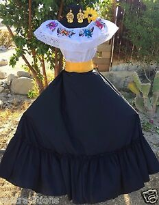 Details About Mexican Dress Fiesta5 De Mayowedding Black 2 Piecevestido De Fiesta Mexicana