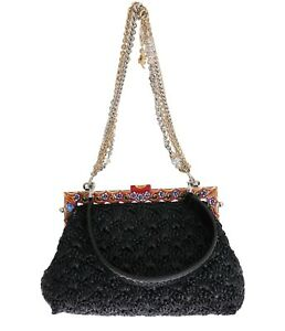 26d76f2076f9 NEW  5600 DOLCE   GABBANA Bag VANDA Carretto Black Raffia Snakeskin ...