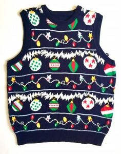 Mens Ugly Christmas Sweater Vest Holiday Lights Free Gloves Ebay