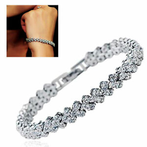 Women-Fashion-Roman-Chain-Clear-Zircon-Crystal-Bangle-Rhinestone-Bracelet-Gift