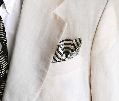 Black & White Striped Gentleman's 100% Silk Pocket Square / Handkerchief