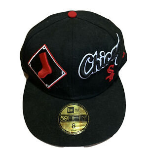 Chicago-White-Sox-Hat-Snapback-Cap-Black-New-Era-9Fifty-Size-8-NBA-Embroidered