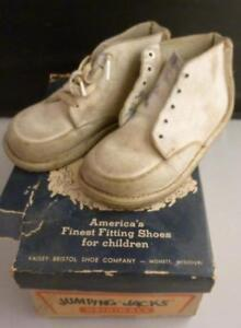fa7301229be1c Details about Vtg Jumping Jacks White Leather High Top Baby Walking Shoes  with Box No laces