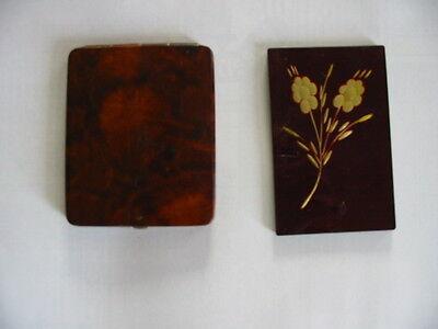 Alte Puderdose Art Deco? Chinalack + Taschenspiegel Mit Goldf. Intarsien? Blume Hindernis Entfernen
