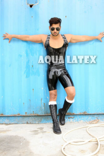 Buckled Tank Rubber Latex Catsuit with Removable Codpiece Sleeveless Bike Shorts