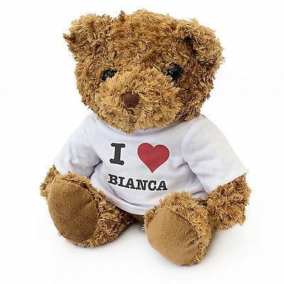 100% Waar New - I Love Bianca - Cute And Cuddly Teddy Bear - Gift Present Birthday Xmas Zacht En Licht