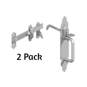 2-X-BZP-Gothic-Suffolk-Latch-Traditional-Gate-Thumb-Catch-External-Garage-Shed