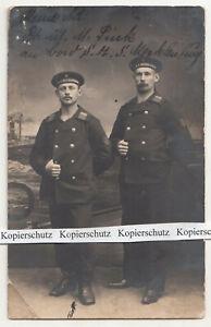 Photo Ak Two Matrosen 1914 Stamp Navy Army Postal Service SMS Mecklenburg Kiel