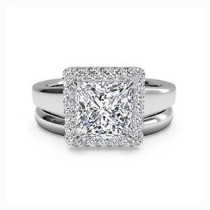 1.00 Ct Princess Moissanite Band Set 14K Real White Gold Proposal Wedding Ring