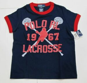 New-tag-Boys-RALPH-LAUREN-Navy-Blue-Short-Sleeve-POLO-Lacrosse-Summer-T-Shirt-6