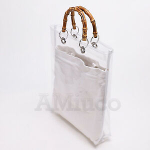 6ed67a77aa04 Ladys Bamboo Bag Transparent PVC Soft Clear Jelly Clutch Bag Tote ...