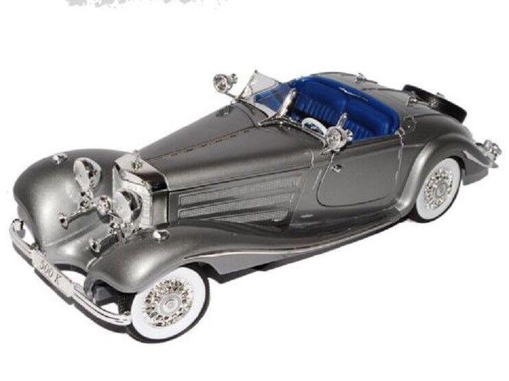 Maisto 1 18 Mercedes Benz 500K Coche Modelo Diecast grigio Tipo specialroadst