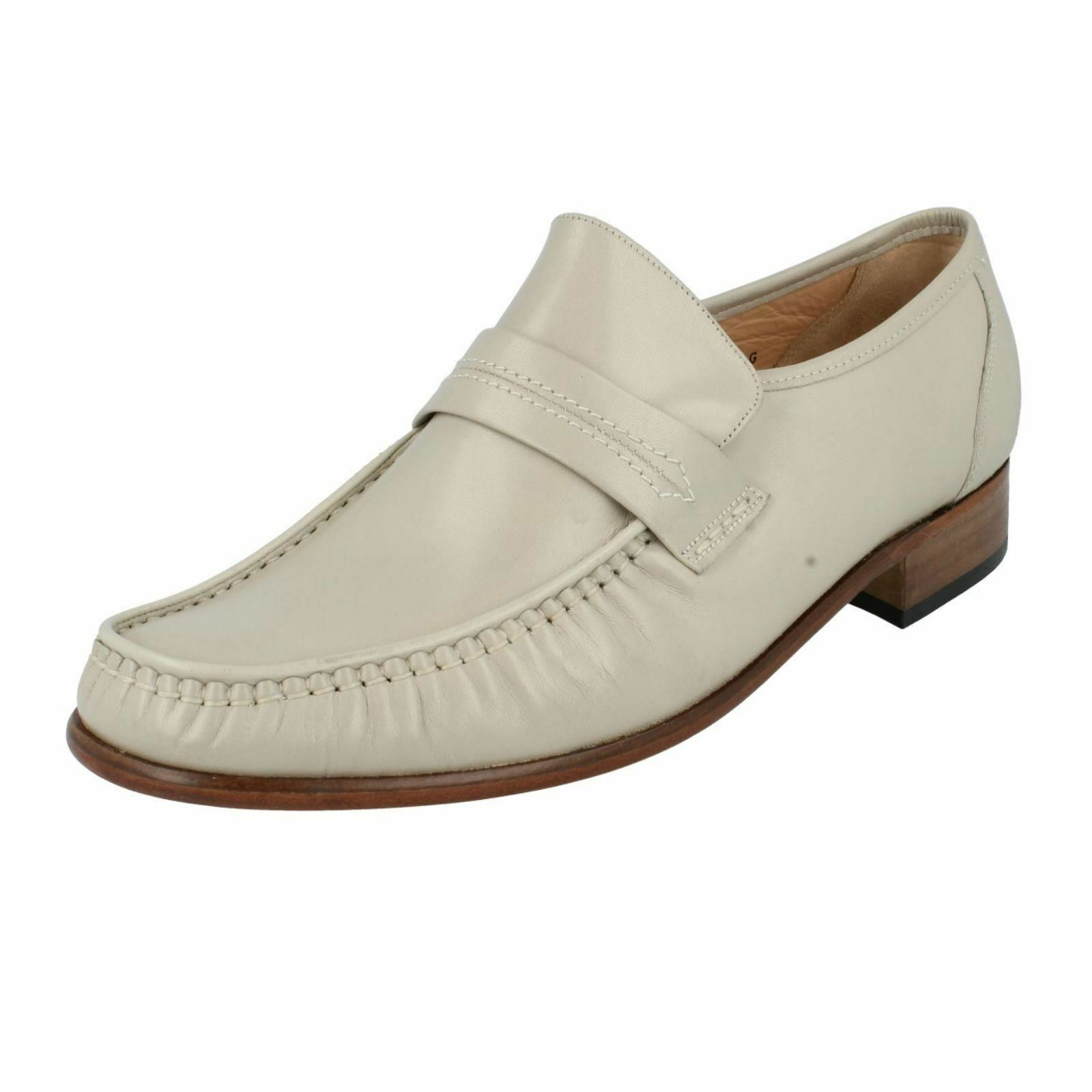 Grenson  WATFORD Mens Ivory Leather Slip-on Moccasin shoes  (38A) (Kett)