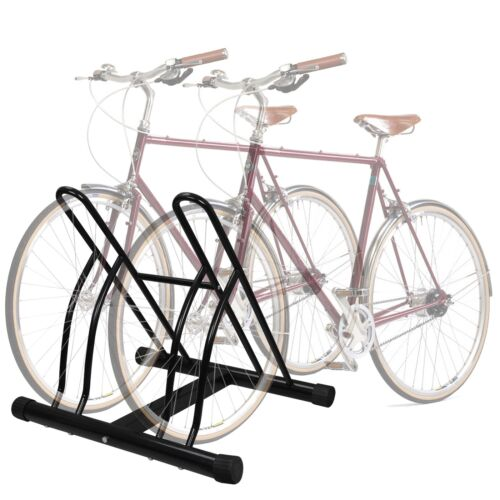 Two Bicycle Bike Stand Garage Floor Storage Organizer Cycling Rack Max Tire 2.5/""