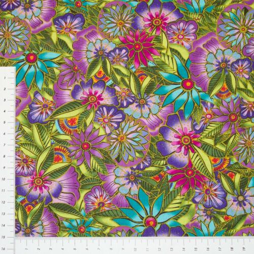 Nr.1171 Traumhafte Blüten Flieder 100 /% Baumwolle