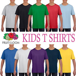 babe6fd8d Fruit of the Loom Cotton Plain Childrens Boys Girls T Shirts ...