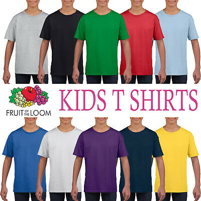Fruit of the Loom 100/% Cotton Plain Children Boys Girls T Shirts