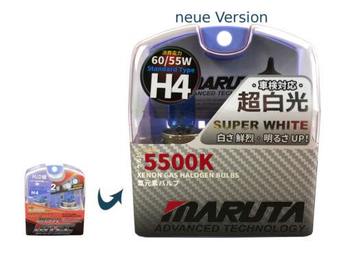 MARUTA MTEC H4 60//55W Halogen Glühlampen Set Xenon Look SUPER WHITE MT-439