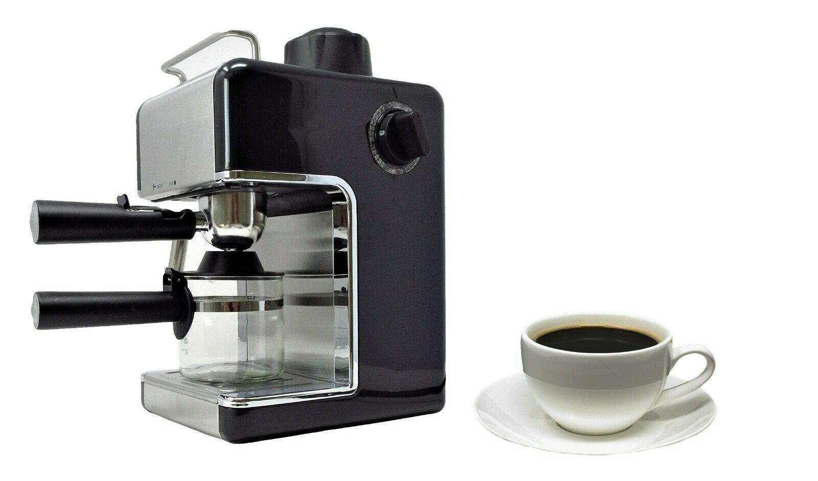 Black Espresso Cappuccino Latte 4 Cup Coffee Machine with Milk Frother Steamer