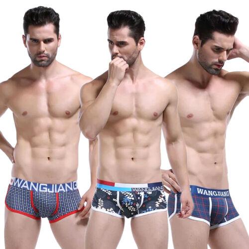 New 3Pcs//lot Men/'s Stripe Boxer Briefs Cotton Underwear Underpants Shorts Pack