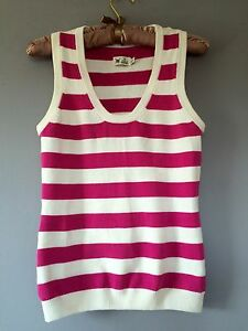 JOULES-SLEEVELESS-KNITTED-STRIPED-PINK-AND-WHITE-TOP-XS-SUMMER
