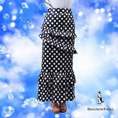 SHARON TANG Modest Apparel Long Stretch Polka Dot Layer Ruffle Maxi Skirt L