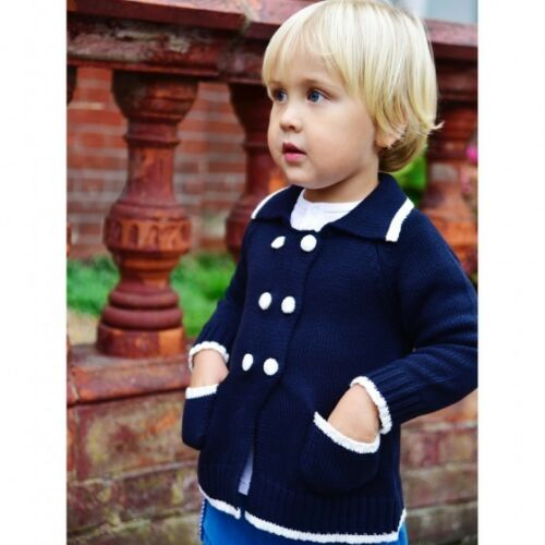 Babys Navy Blue Cotton Cardigan Powell Craft BNWT  from 0-6 mth to 12-18mths