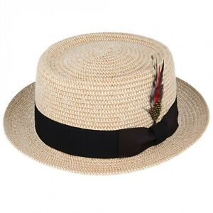 ef68088f091f7 Crushable Natural Straw Pork Pie Summer Trilby Hat With Removable ...