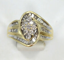 10kt Solid Yellow Gold Diamond Cluster Wide Band Ring ~ Size 8 3/4 ~ 4.5 Grams