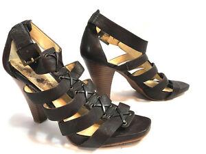 ETIENNE-AIGNER-brown-leather-strappy-platform-sandal-pumps-8-5-FREE-SHIP