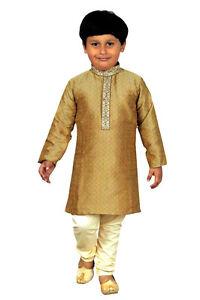 adba13580 Image is loading Boys-Indian-sherwani-Gold-Kurta-Pajama-for-Bollywood-