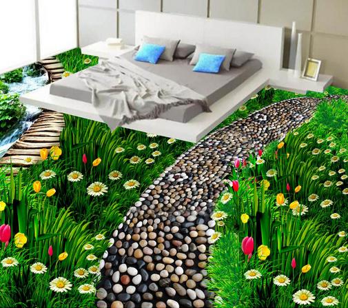 3D Grasland Weg 6 Wandbild Fototapete Tapete Familie DE Lemon