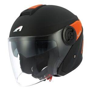 Casque-casco-helmet-jet-ASTONE-DJ10-NOIR-ORANGE-taille-XS-53-54-HOMOLGUE